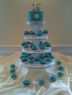 Leilani's Heavenly Cakes: Tiffany Blue Sweet 16 Cake & Cupcakes