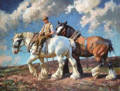 Painting of two work horses