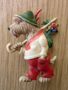 VINTAGE ART DECO 1930'S SCOTTIE DOG BROOCH PIN PLASTIC CELLULOID