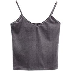 Gray V-neck Velvet Cropped Cami Top ($19) ❤ liked on Polyvore featuring tops, grey crop top, v neck tank top, cropped camis, crop tank and cami tank tops