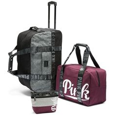 Victoria's Secret Pink Limited Edition 3 Piece Travel Set Luggage... ($270) ❤ liked on Polyvore featuring bags and luggage