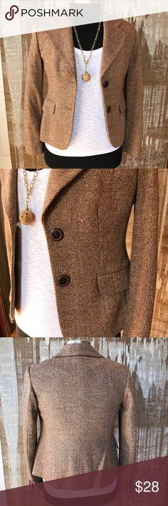 Ann Taylor LOFT wool blend jacket Beautiful Ann Taylor LOFT brown wool blend jacket. Completely lined. Size 2. (75% wool 24% nylon 1% lycra) Ann Taylor Jackets & Coats Blazers