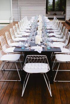 Charcoal Trestle Tables - Lovebird Weddings, Noosa Australia