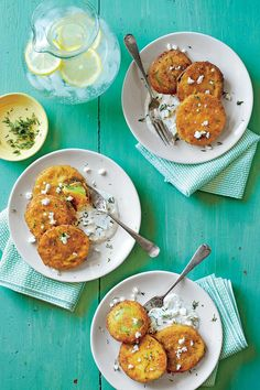 June 2016 Recipes: Fried Green Tomatoes with Buttermilk-Feta Dressing