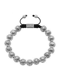 Men's Beaded Bracelet with Indian Silver Cairo Beads - Nialaya Jewelry - 1