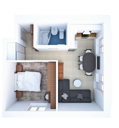 Redesign of the week: 3 solutions for two-room apartment in a typical house - - Studio Apartment Floor Plans, Studio Apartment Layout, Small Apartment Design, Apartment Plans, Apartment Interior, Small Apartments, Small Spaces, Sims House Plans, Small House Plans