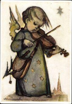 Künstler Ak Hummel, Weihnachtslied, Engel spielt auf der Geige | akpool.co.uk