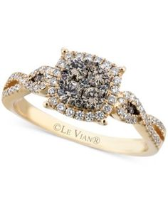 Le Vian Chocolate (3/8 ct. t.w.) and White (1/3 ct. t.w.) Diamond Braided Ring in 14k Gold - Rings - Jewelry & Watches - Macy's