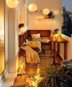 63 cozy apartment balcony decorating ideas - Home Page Small Balcony Design, Tiny Balcony, Small Balcony Decor, Small Balconies, Balcony Bench, Patio Balcony Ideas, Small Balcony Furniture, Balcony House, Small Apartment Furniture