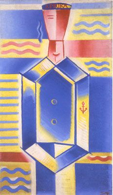 """Josef Čapek (Czech 1887–1945) [Cubism] Námořník """"Afrika,"""" 1917."""