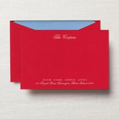 Chesapeake Engraved Flame Red Correspondence Cards