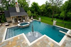 With a couple design guidelines, you can produce your pool the ideal hideaway. A pool can be constructed in virtually any size yard. A huge swimming pool sits at the conclusion of the backyard garden. Large Backyard Landscaping, Backyard Pool Designs, Patio Design, Backyard Patio, Outdoor Pool, Backyard With Pool, Back Yard Pool Ideas, Landscaping Ideas, Backyard Ideas