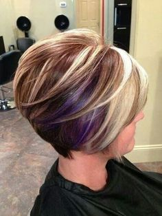 Love the chunky highlight/low light and violet peekaboos