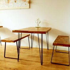 Reclaimed wood table with iron hairpin legs