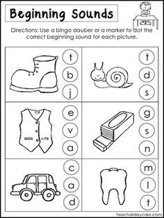 10 Beginning Sounds Worksheets. Preschool and Kindergarten Literacy Worksheets. Beginning Sounds Worksheets, Letter Worksheets For Preschool, English Worksheets For Kids, Free Kindergarten Worksheets, Kindergarten Centers, Kindergarten Lessons, Preschool Homework, Preschool Literacy, Lkg Worksheets