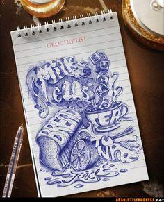 illustrate a grocery list or reciept.  nice sketchbook idea
