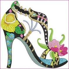Machine Embroidery Patterns Hatched in Africa - Strut your way to style with this beautifully detailed single stiletto with elements. Sewing Machine Embroidery, Free Machine Embroidery Designs, Modern Embroidery, Embroidery Applique, Flower Shoes, Shoe Art, Art Shoes, Painted Shoes, Needlework