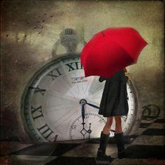 love the clock, love the red umbrella ! Umbrella Art, Under My Umbrella, Father Time, Amedeo Modigliani, Umbrellas Parasols, Singing In The Rain, Foto Art, Photo Manipulation, Art Photography