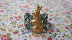 Patinaed Brass Rabbit Filigree Ring