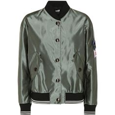 Miu Miu Bomber Jacket (€1.230) ❤ liked on Polyvore featuring outerwear, jackets, green, blouson jacket, green jacket, miu miu, flight jacket and bomber style jacket