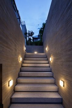Basement stairs - There is no shortage of stairway design ideas to make your stairway a charming part of your home. Outdoor Stair Lighting, Stairway Lighting, Outdoor Stairs, Fence Lighting, Wall Lighting, House Lighting, Exterior Lighting, Landscape Lighting, Basement Entrance