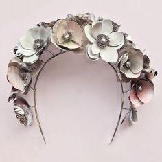 Crowns | HdeP Bridal Bespoke Wedding Crowns. | #crowns #metalcrown #metalflowers #metalwork #bespokecrowns #bridayheadwear #bridalcrown #weddingdress #bridal #weddingstyle #embroideredgown #bespokebridal #bride #veils #bespokeveil #delicate #ethereal #beaded #embellished #chapel #couture #artwork #countrywedding #honeymoon #weddingdesign #weddingphotographer #handmade #sentimental #weddingphotos  #bespoke #hermionedepaula #personalmessages #bespokebridal #flowerdesign Metal Crown, Wedding Types, Bridal Crown, Metal Flowers, Couture Dresses, Flower Designs, Wedding Designs, Metal Working, Wedding Photos
