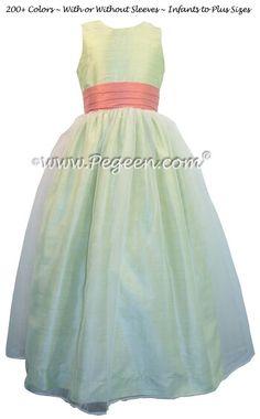 Green and peach flower girl dresses