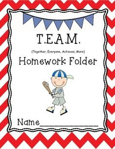 This cute TEAM Homework Folder cover will fit in perfect with your sports theme classroom.