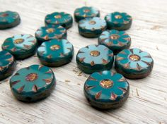 Before the Storm - teal green opal 13mm pinwheel flower coin beads with rustic Picasso finish (6), sunburst pressed glass coin beads