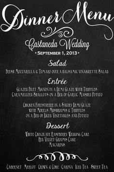 Wedding Menu Chalkboard Sign Dinner Menu 24 x by BeauTiedAffair