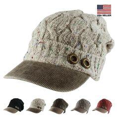 Womens Casual Warm Ski Slouchy Crochet Knit Beanie Cap Corduroy Brim Hat Winter…