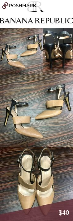 (Make an offer)BANANA REPUBLIC leather heels Beautiful heels by Banana Republic. Tan and black leather, size 7, only worn a handful of times. The only wear is on bottom of toe as depicted in the last picture. Banana Republic Shoes