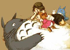 Tags: Anime, Fanart, Mononoke Hime, My Neighbor Totoro, Studio Ghibli