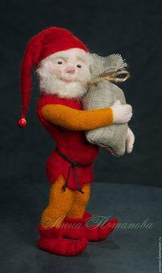 Купить Авторская войлочная кукла гном Мартин - ярко-красный, гном, гномик, гномы, гномики