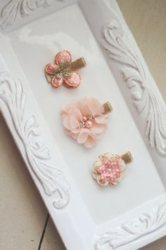 Toddler Hair Clips - Butterfly Hair Clip - Fabric Flower Hair Clip - Pale Peach and Gold - Young Girls Hair Clips on Etsy, $12.00