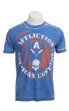 Affliction Men's Blue Burnout Flag Crewneck Short Sleeve Tee