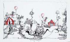 www.artunika.dk / www.artunika.com The Circus - 33 x 20. En original kunst tegning af kunstner Marianne Stenberg. Tegningen kommer ikke indrammet.  Kunstner Marianne Stenberg arbejder primært på papir, hvorpå hun skaber tusch-tegninger med kalligrafi-pen. Steenberg er kendt for hendes stor...