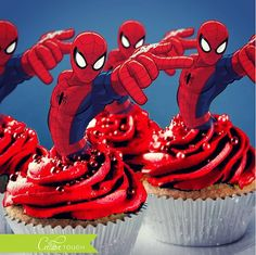 Spiderman Cupcake Toppers, Spider Man Cupcake Topper, Spider-Man, Superhero Cupcake Toppers, Spiderman, Spider Man, Superhero, Birthday