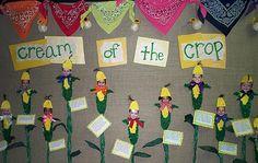 """Cream of the Crop"" - cute fall bulletin board idea"