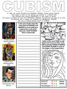 Cubism worksheet with Literacy and Assessment box - Art History - Pablo Picasso - Abstract Art - High School Art, Middle School Art, Classe D'art, Art Handouts, Art History Lessons, Art Du Monde, 6th Grade Art, Cubism Art, Art Worksheets