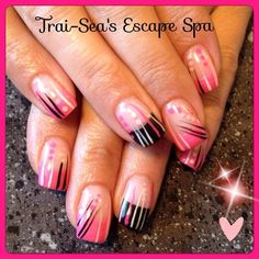 Pink & Black with Design by TraiSeasEscape from Nail Art Gallery