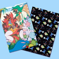 Alolan Starters Holographic Postcard by highgarden 1 holographic double-sized postcard of the Alolan starters from Pokemon Sun and Moon.