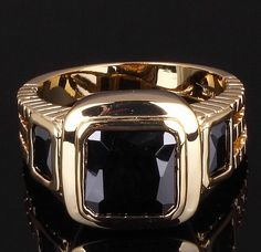 Men's Black Sapphire 18k Yellow Gold Filled Ring at mmcshop.com