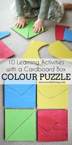 10 Learning Activities with a Cardboard Box - COLOUR PUZZLE! 10 Learning Activities with a Cardboard Box - from Shape Windows to Sorting Boxes & Puzzles - 10 simple DIY's for Babies, Toddlers & Preschoolers! Color Activities For Toddlers, Colors For Toddlers, Puzzles For Toddlers, Preschool Colors, Preschool Learning Activities, Infant Activities, Toddler Puzzles, Shapes For Toddlers, Shape Activities