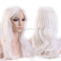"""19 """"48センチ長いカーリー波状合成フルヘッドかつら白人女性の衣装コスプレ毎日パーティードレス100%天然毛かつら"""