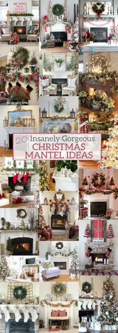 20 Insanely Gorgeous Christmas Mantel Ideas You Need to Copy This Year - A Brick Home by Marly Dice These gorgeous Christmas mantel iIdeas will give you all the cheery feels! You'll get tons of inspiration from these Christmas decorating ideas. Country Christmas, White Christmas, Christmas Home, Christmas Holidays, Christmas Crafts, Christmas Ornaments, Modern Christmas, Victorian Christmas, Christmas Trees
