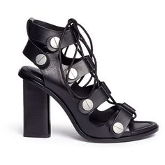 Alexander Wang 'Ilse' rivet lace-up leather sandals (6285 MAD) ❤ liked on Polyvore featuring shoes, sandals, heels, black, black sandals, black heeled shoes, high heel shoes, black heeled sandals and leather lace up sandals