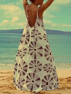 Pattern Printed, Spaghetti-neck Occasion Daily/Casual/Beach Material Cotton Blends/Polyester Color Same as picture Size M,L (Units/Inches) Size Bust Length M L 37 50 (Units/Centimeters) Size Bust Length M 90 126 L 94 127 Backless Maxi Dresses, Maxi Dress With Sleeves, Robes Dos Nu Maxi, Robe Diy, Mode Hippie, Short Beach Dresses, Mode Chic, Diy Dress, Tent Dress