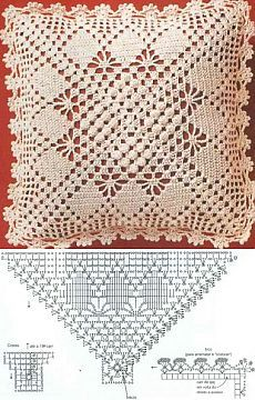 Letras e Artes da Lalá: crochet pillow Crochet Pillow Cases, Crochet Cushion Cover, Crochet Pillow Pattern, Crochet Bedspread, Crochet Doily Patterns, Crochet Diagram, Crochet Chart, Thread Crochet, Crochet Motif