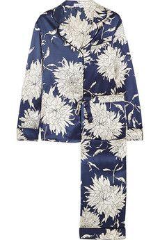 Olivia von Halle Lila Grace floral-print silk-satin pajama set   NET-A-PORTER